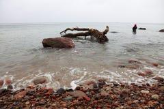 Pêcheur Stones en automne d'eau de mer Photographie stock