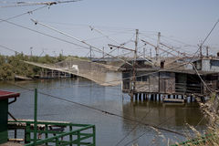 Pêcheur sur le fleuve Photographie stock