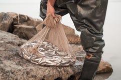 Pêcheur tenant un filet de poissons Photos libres de droits
