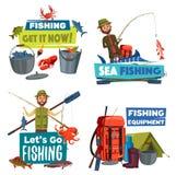 Pêcheurs avec la canne à pêche, le crochet de poissons et l'attirail illustration de vecteur