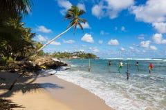 Pêcheurs d'échasse s'asseyant sur un poteau chez une Palm Beach près de Galle, Sri Lanka Photos stock