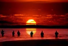 Pêcheurs de truite de Taupo Photographie stock libre de droits