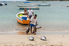Pêcheurs en Îles Maurice Image libre de droits