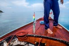 Pêcheurs pêchant l'amorce d'utilisation de calmar Photographie stock