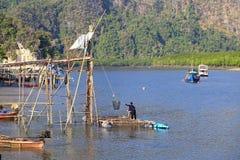 Pêcheurs tirant des méduses de l'eau Images libres de droits