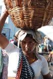 Pêcheuse dans l'Inde côtière du sud Photographie stock libre de droits