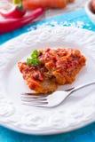 Pêchez dans la sorte grecque avec la sauce de légume et tomate Photos libres de droits