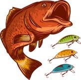 Pêchez le logo et les attraits de pêche d'isolement sur l'illustration blanche de vecteur illustration de vecteur