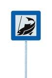 Pêchez le poteau d'isolement de pêche à la ligne de pôle de signe de route de camp Images stock