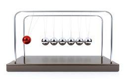 Pêndulo de equilíbrio do berço do ` s de Newton da bola isolado no fundo branco Foto de Stock