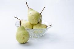 Pêras. Produção com pêras em pote de vidro. Production with pears in glass pot. Frutas Fruits Royalty Free Stock Photography