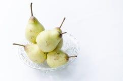 Pêras. Produção com pêras em pote de vidro. Production with pears in glass pot. Frutas Fruits Royalty Free Stock Photo