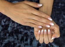 Pêssego e branco de Ombre do francês do projeto do tratamento de mãos Fotografia de Stock Royalty Free