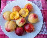 Pêssegos doces maduros das nectarina em uma placa branca, guardanapo vermelho Imagens de Stock