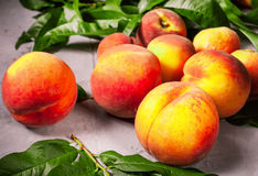 Pêssegos frescos, fundo do fruto do pêssego, pêssegos doces, grupo de p Imagem de Stock Royalty Free