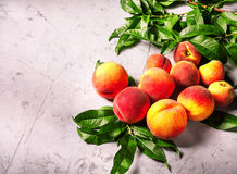 Pêssegos frescos, fundo do fruto do pêssego, pêssegos doces, grupo de p Foto de Stock