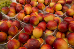 Pêssegos para a venda no mercado Foto de Stock Royalty Free