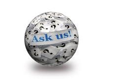 Pídanos la bola de las preguntas 3d Imágenes de archivo libres de regalías