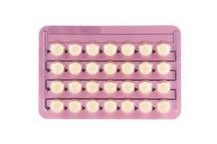 Píldora anticonceptiva en paquete de ampolla transparente Imagen de archivo libre de regalías