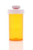 Píldora de la botella de la prescripción en tapa Fotografía de archivo