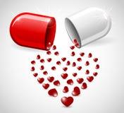Píldora del amor Imágenes de archivo libres de regalías