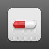 Píldora del vector en paquete de ampolla Fondo médico Foto de archivo