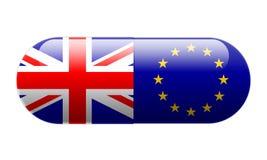 Píldora envuelta en Union Jack y banderas de la UE foto de archivo libre de regalías