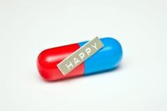 Píldora feliz para la depresión o la ansiedad Imagenes de archivo
