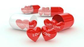 Píldora llenada de los corazones Imagen de archivo libre de regalías
