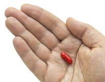 Píldora roja en su palma Imagen de archivo