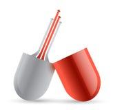 Píldora y flechas rojas desde adentro. diseño del ejemplo libre illustration