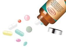Píldora y vitamina de la medicina de la mezcla con Amber Glass Jar Background Illustration Imagen de archivo