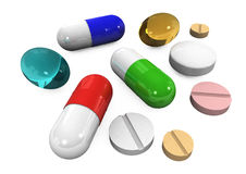 píldoras 3d en un fondo blanco Imágenes de archivo libres de regalías