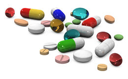 píldoras 3d en un fondo blanco Foto de archivo