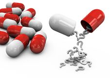 píldoras 3d en un fondo blanco Fotografía de archivo libre de regalías