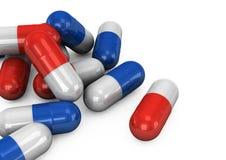píldoras 3d en un fondo blanco Fotos de archivo libres de regalías