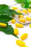 Píldoras amarillas de la vitamina Foto de archivo libre de regalías