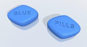 Píldoras azules Imágenes de archivo libres de regalías