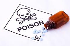 Píldoras azules y alerta del veneno Imagenes de archivo