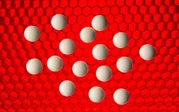 Píldoras blancas en un fondo de alta tecnología rojo de la red Foto de archivo libre de regalías