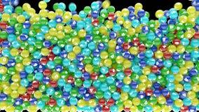 Píldoras coloridas de la vitamina que caen abajo y dispersión stock de ilustración
