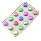 Píldoras coloridas en la ampolla 3d Fotografía de archivo
