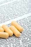 Píldoras con advisory de la alerta Foto de archivo libre de regalías