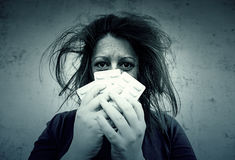 Píldoras de la depresión de la muchacha Fotos de archivo libres de regalías