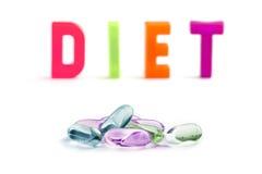 Píldoras de la dieta Fotografía de archivo