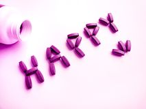 Píldoras de la felicidad Imagen de archivo libre de regalías