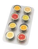 Píldoras de la fruta cítrica Foto de archivo libre de regalías