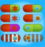 Píldoras de la medicina fijadas Foto de archivo libre de regalías