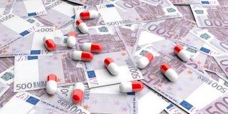 píldoras de la representación 3d en 500 billetes de banco de los euros Imagenes de archivo