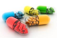 Píldoras de la variedad Cápsulas de la vitamina 3d Foto de archivo libre de regalías